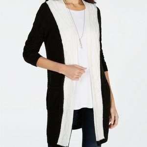 Style & Co Colorblocked Cable-Knit Cardigan Size M